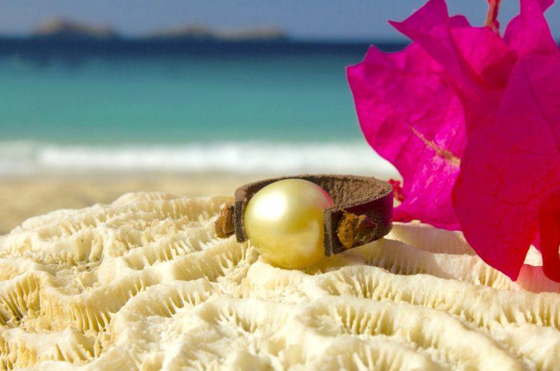 Bague en cuir avec perle d'Australie - 9 mm