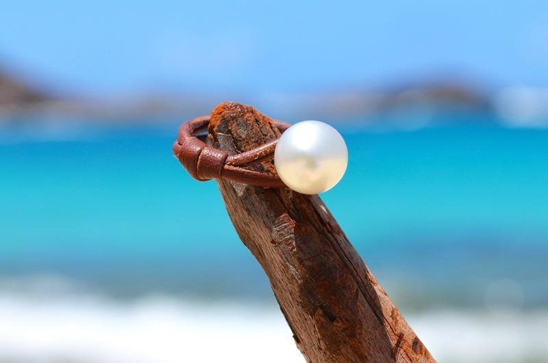 Bague avec perle d'Australie blanche - 10mm