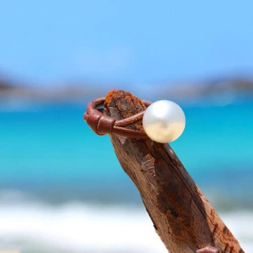 Bague une perle d'Australie blanche - 10mm