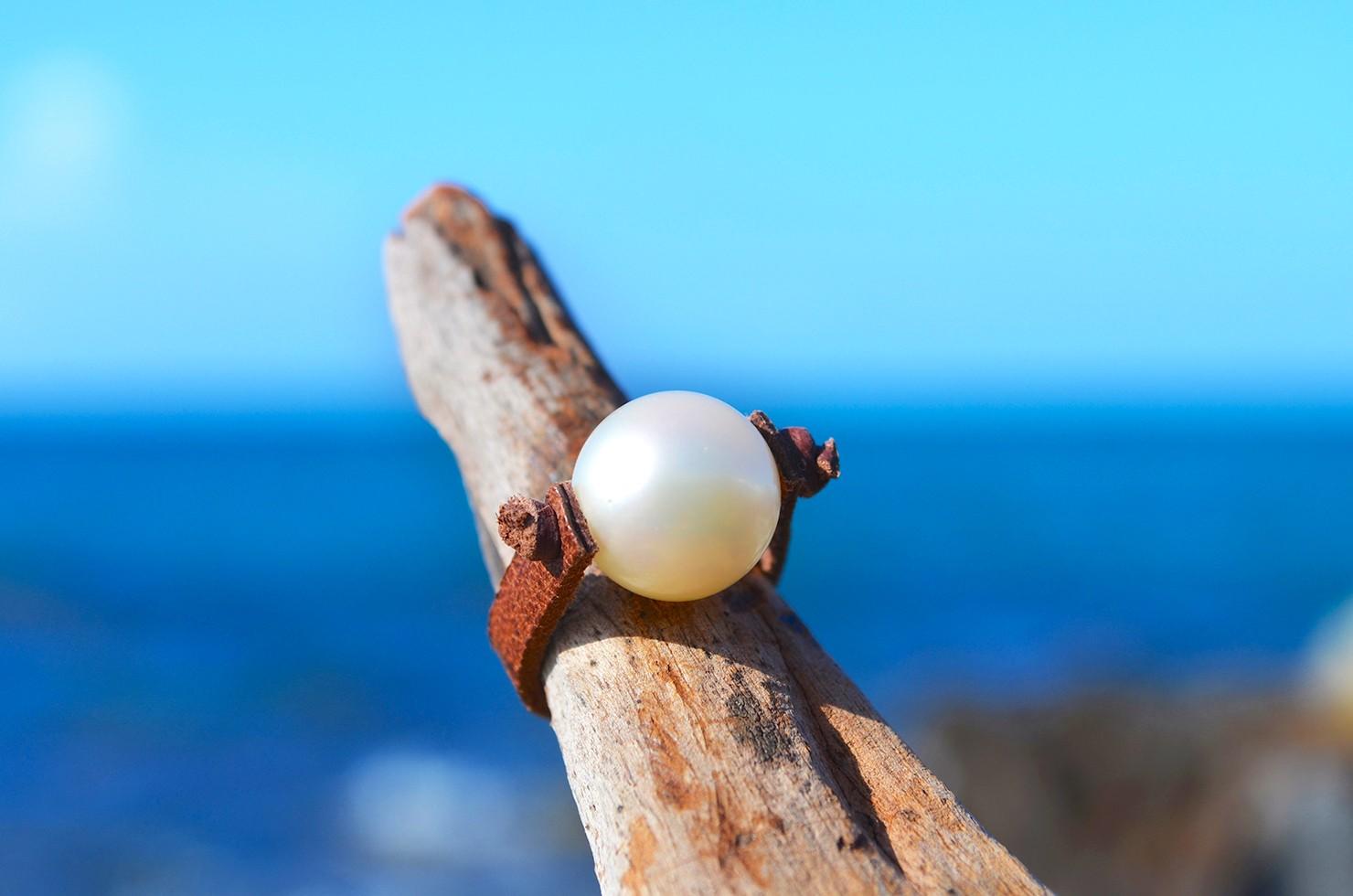 Bague avec perle d'Australie blanche - 12mm