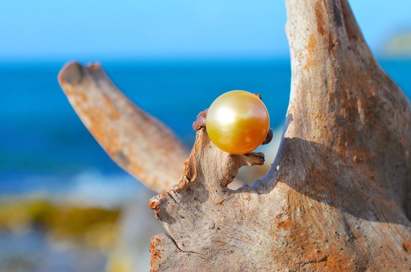 Bague avec perle d'Australie dorée - 14.5mm