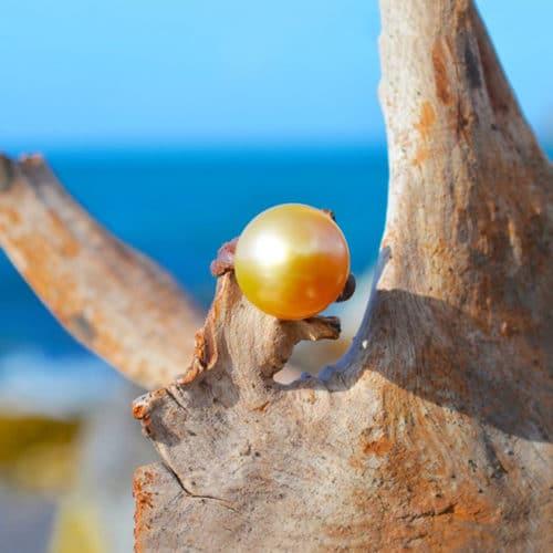 Bague perle d'Australie dorée - 14.5mm