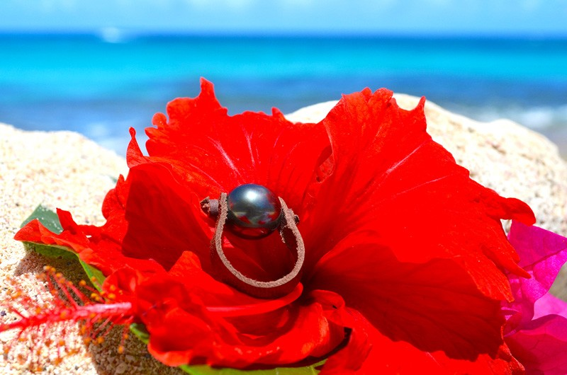 Bague avec une perle noire de Tahiti - 10.5mm