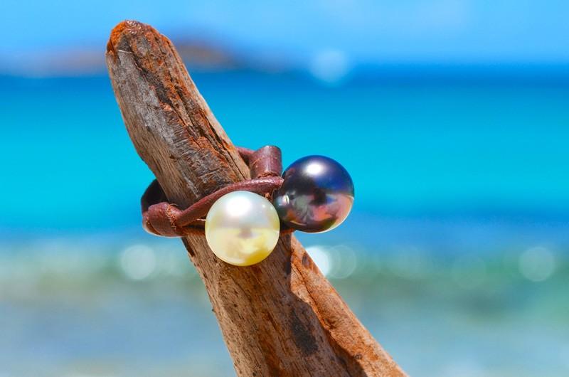 Bague toi & moi avec perles de Tahiti et d'Australie - 11mm