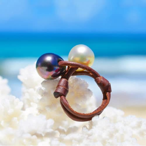 Bague toi & moi avec une perles de Tahiti et d'Australie - 11mm