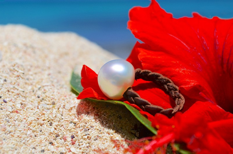 Bague tressée et perle d'Australie - 15mm