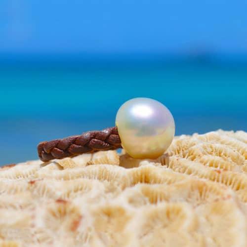Bague tressée avec perle d'Australie - 15mm