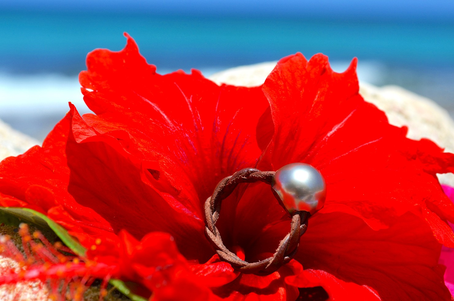 Bague tressée et perle de Tahiti - 11.5mm