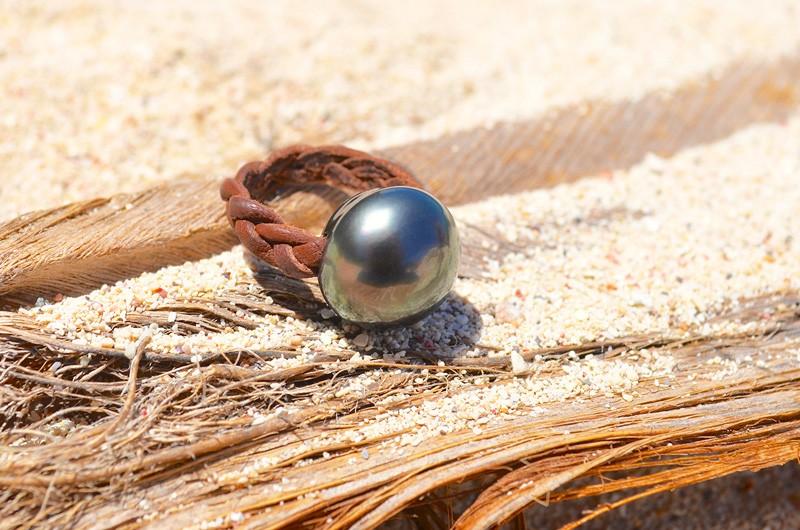 Bague tressée avec perle de Tahiti - 15mm