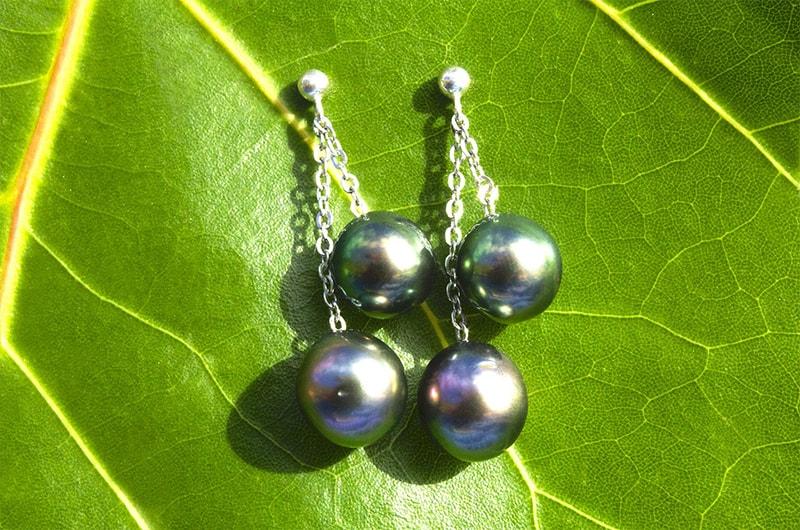 Boucles d'oreilles argent 4 perles de Tahiti