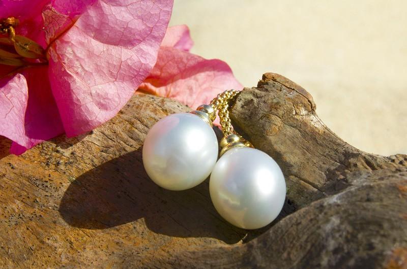 Boucle d'oreilles perles d'Australie blanche - 10.5 mm