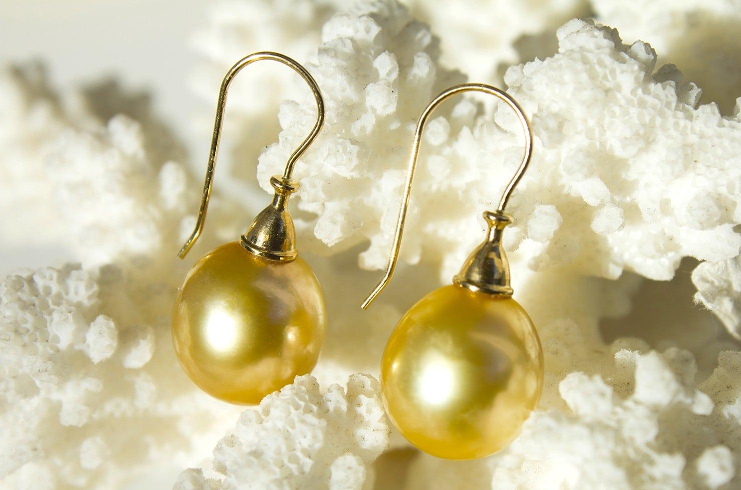 Boucle d'oreilles perles d'Australie dorée - 12 mm