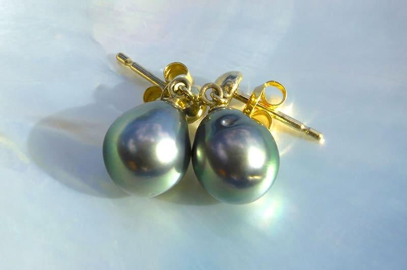 Boucles d'oreilles perles de Tahiti (9,5mm)