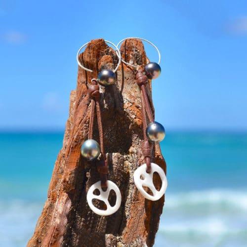 Boucles d'oreilles Créoles - Peace & love