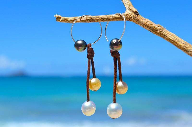 Boucles d'oreilles Créoles - Perles multicolore
