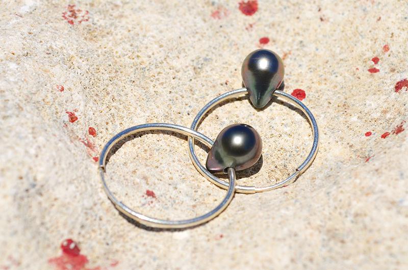 Boucles d'oreilles Créoles et perles de Tahiti Goutte