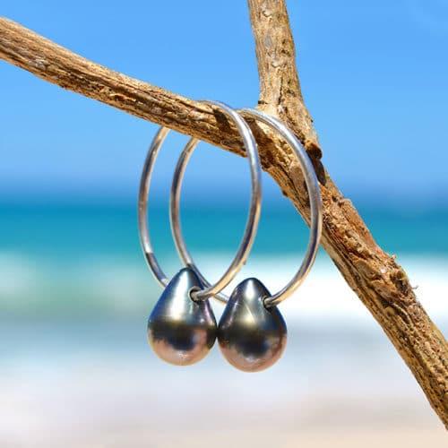 Boucles d'oreilles Créoles et perles de Tahiti ovale
