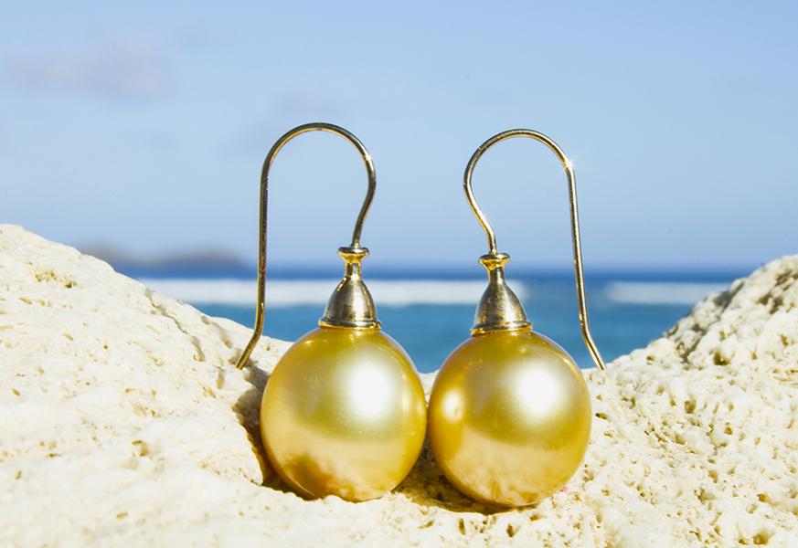 Boucles d'oreilles perle d'Australie