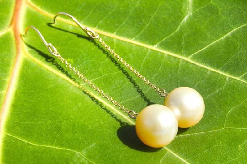 Boucles d'oreilles perles d'Australie dorée