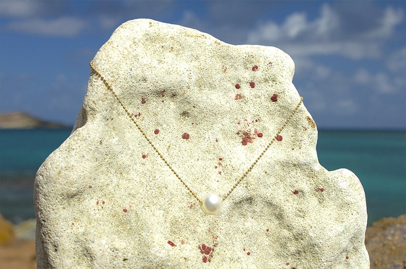 Chaîne en or et perle d'Australie blanche