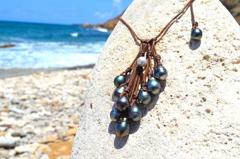 Collier grappe avec 10 perles de Tahiti