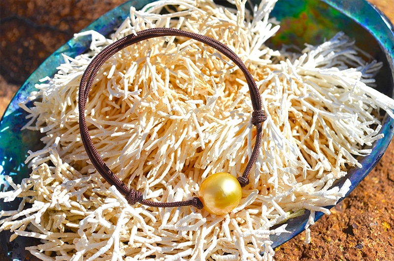 Adjustable bracelet 1 golden Australian Pearl - 11,5mm