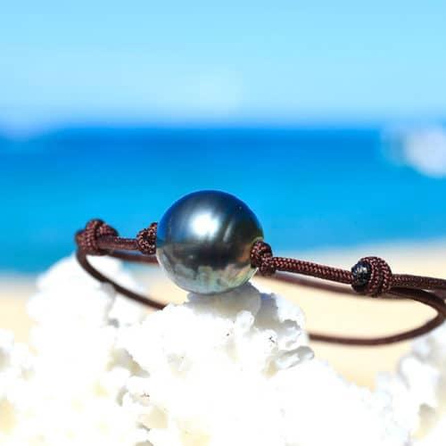 Adjustable bracelet 1 Rimmed Tahitian Pearl (12mm)