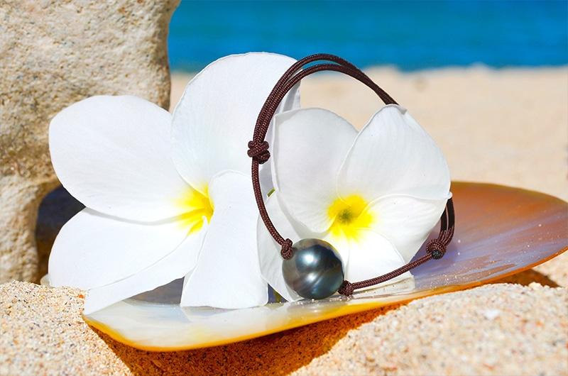 Adjustable bracelet 1 Rimmed Tahitian Pearl - 13mm