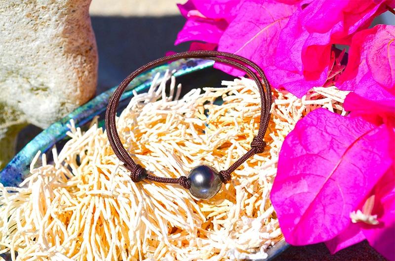 Adjustable bracelet 1 Tahitian Pearl - 9,5mm