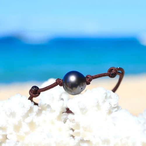 Adjustable bracelet 1 Tahitian Pearl - 9,5mm