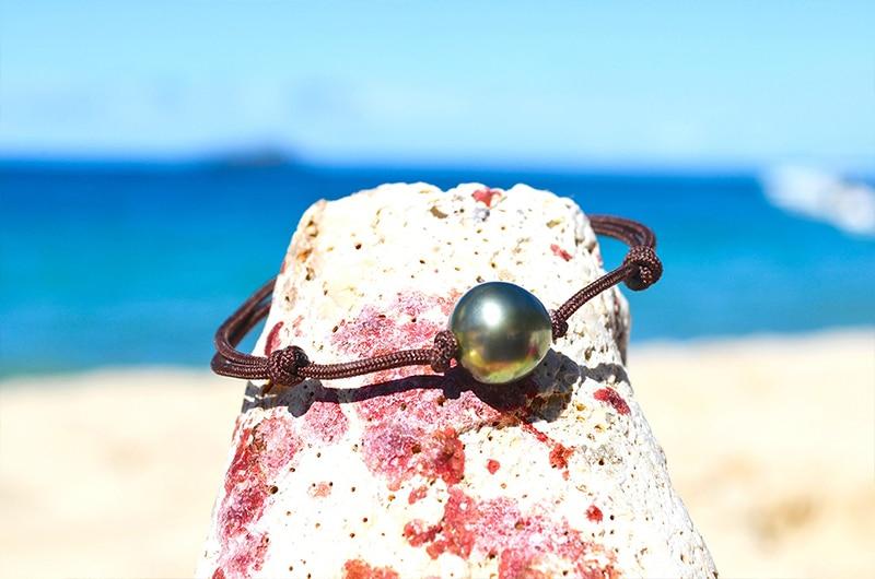 Adjustable bracelet 1 Tahitian Pearls (10,5mm)