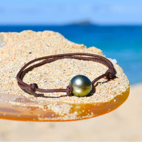 Adjustable bracelet 1 Tahitian Pearls (10,5mm)