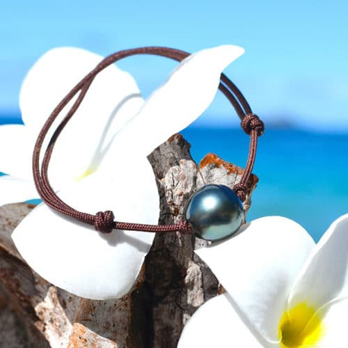 Adjustable bracelet 1 Tahitian Pearls (11,5mm)