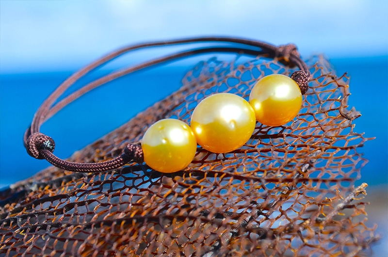 Adjustable bracelet 3 Australian Pearls - 8,5mm