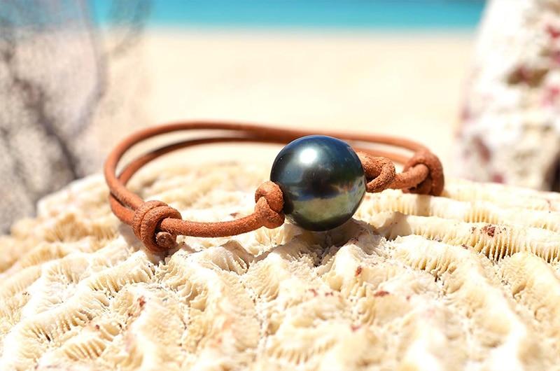Adjustable leather bracelet 1 Rimmed Tahitian Pearl - 13mm