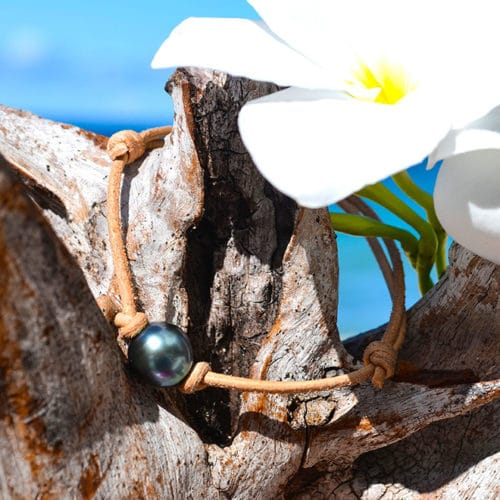 Adjustable leather bracelet 1 Tahitian Pearl (10,5mm)