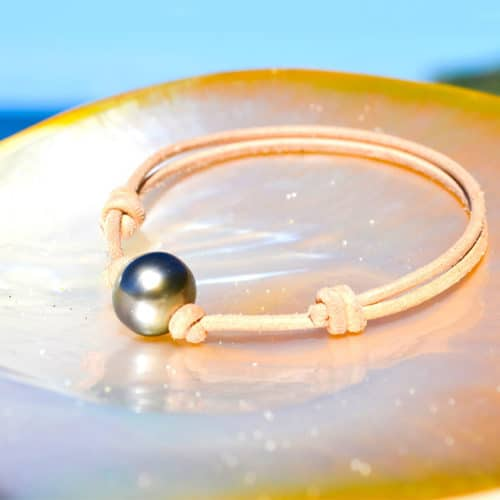 Adjustable leather bracelet 1 Tahitian Pearl (12mm)