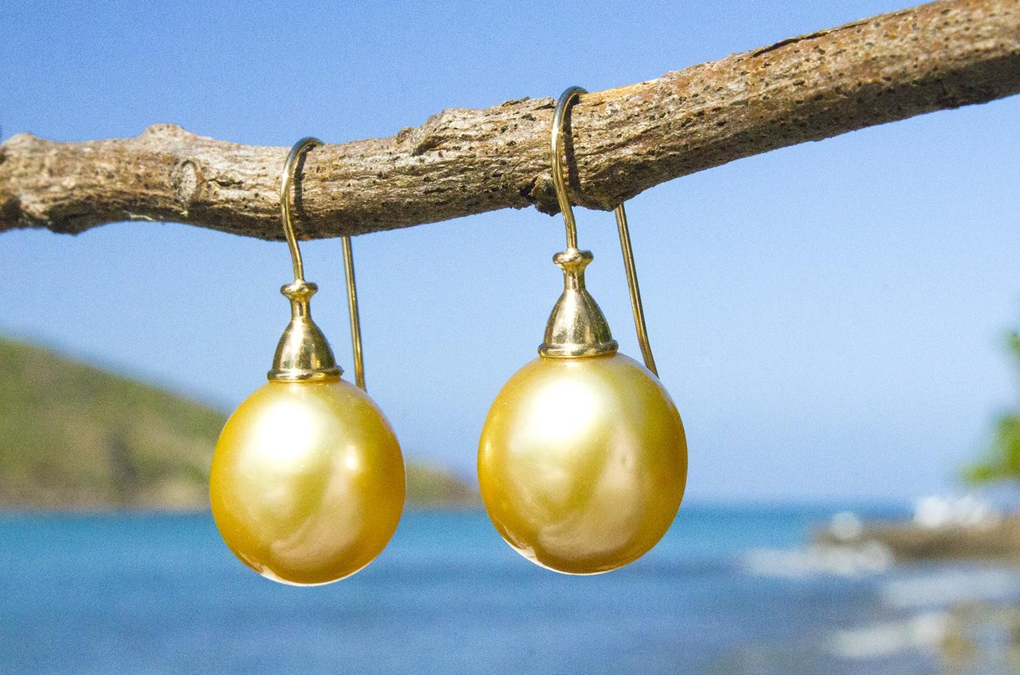 Australian gold pearl earrings - 12mm