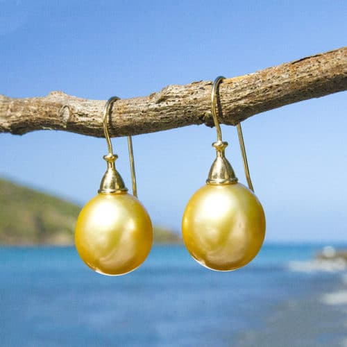 Australian gold pearl earrings - 12mm