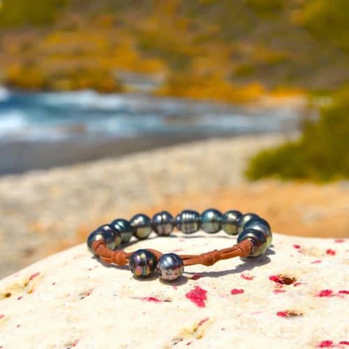 Bracelet 1 rang 12 perles de Tahiti - 10mm