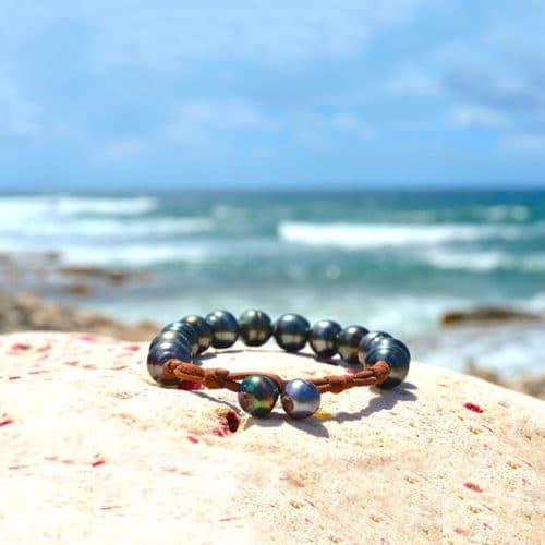 Bracelet 1 rang 12 perles de Tahiti - 11mm