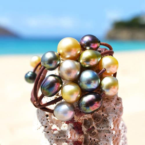 Bracelet 16 multicolored pearls