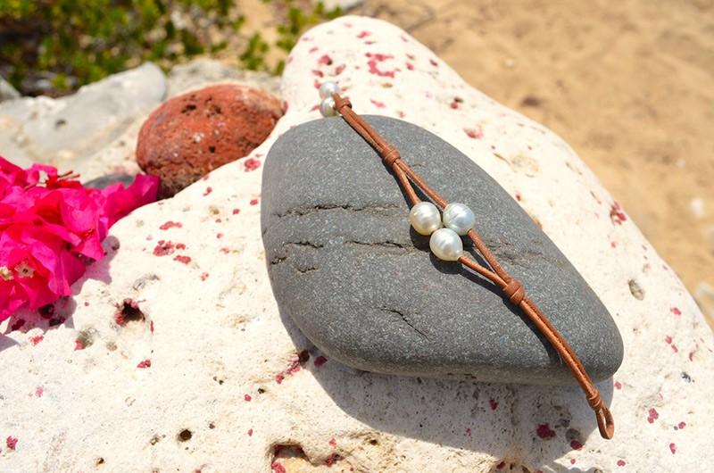 Bracelet 2 rangs 3 perles d'Australie
