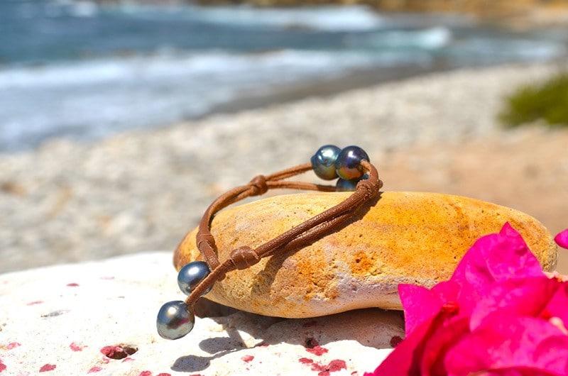 Bracelet 2 rangs 3 perles baroques de Tahiti