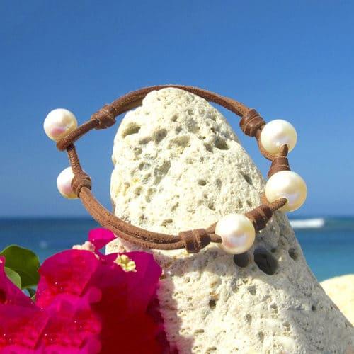 Bracelet 3 perles d'eau douce