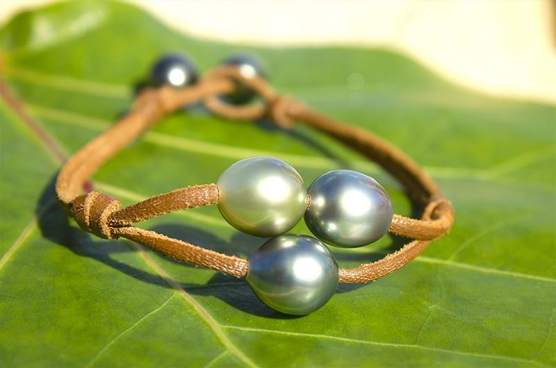 Bracelet 3 perles de Tahiti