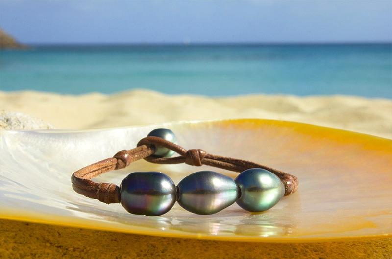 Bracelet 3 perles de Tahiti semi-baroques