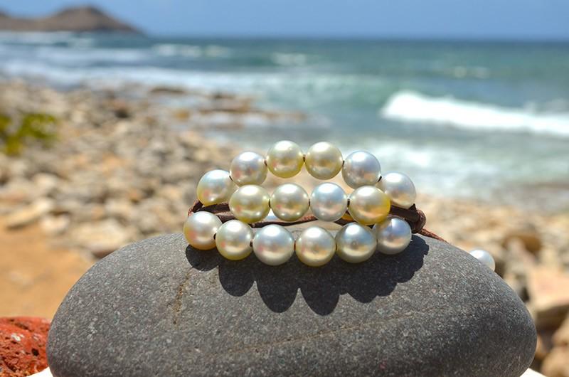 Bracelet 3 rangs 20 perles d'Australie