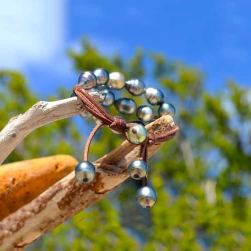 Bracelet 3 rangs 20 perles baroques de Tahiti