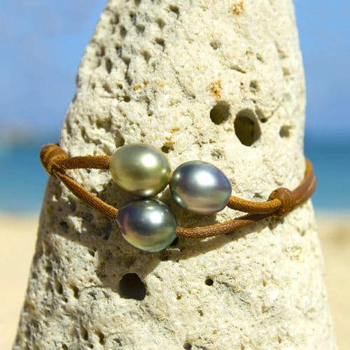 Bracelet 3 Tahitian pearls
